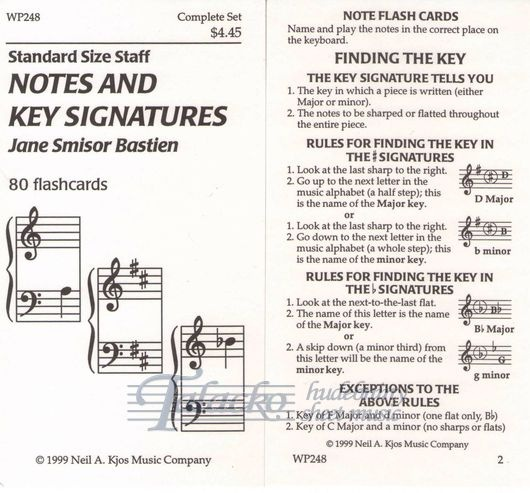 Bastien Notes And Key Signature Flashcards